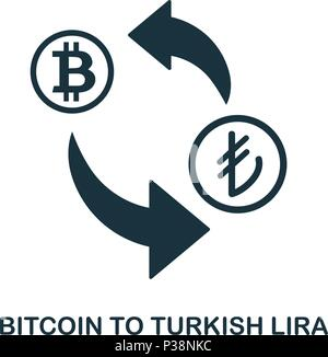 Bitcoin To Turkish Lira icon. Mobile app, printing, web site icon. Simple element sing. Monochrome Bitcoin To Turkish Lira icon illustration. - Stock Photo