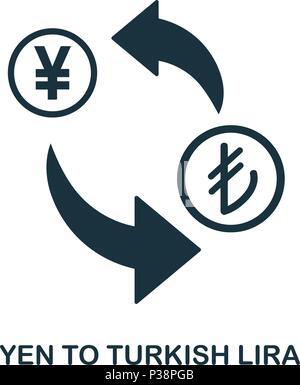 Yen To Turkish Lira icon. Mobile app, printing, web site icon. Simple element sing. Monochrome Yen To Turkish Lira icon illustration. - Stock Photo