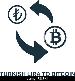 Turkish Lira To Bitcoin icon. Mobile app, printing, web site icon. Simple element sing. Monochrome Turkish Lira To Bitcoin icon illustration. - Stock Photo
