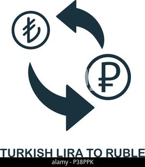 Turkish Lira To Ruble icon. Mobile app, printing, web site icon. Simple element sing. Monochrome Turkish Lira To Ruble icon illustration. - Stock Photo