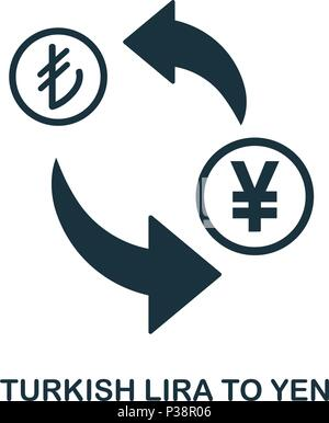 Turkish Lira To Yen icon. Mobile app, printing, web site icon. Simple element sing. Monochrome Turkish Lira To Yen icon illustration. - Stock Photo