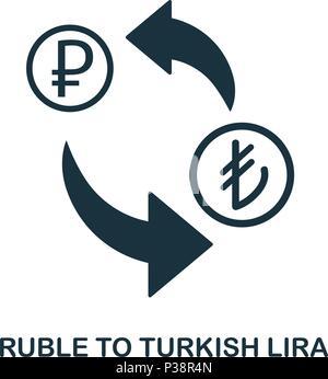 Ruble To Turkish Lira icon. Mobile app, printing, web site icon. Simple element sing. Monochrome Ruble To Turkish Lira icon illustration. - Stock Photo