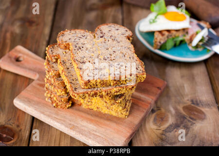 bread with seeds. healthy food. Good breakfast. Copy space - Stock Photo