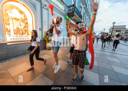 St Petersburg, Russia, 17 June 2018. Fans during the FIFA World Cup of Football in Russia 2018 in St Petersburg, Russia. Credit: Eduardo Fuster Salamero/Alamy Live News - Stock Photo