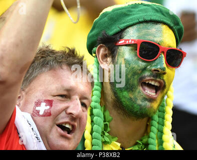 Rostov, Russia, 17th June, 2018. Fans cheer prior to a group E match between Brazil and Switzerland at the 2018 FIFA World Cup in Rostov-on-Don, Russia, June 17, 2018. Credit: Chen Yichen/Xinhua/Alamy Live News - Stock Photo