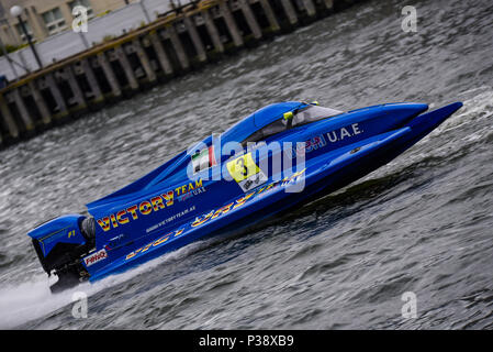 Royal Victoria Dock, London, UK. 17th June 2018. Formula 1 powerboat racing has returned to London for the first time since 1985. 9 teams with 20 drivers competed in Round 2 of the UIM F1H2O World Powerboat Championship. The 6m long tunnel-hulled boats reach speeds of 130mph on the water. The race was won by Erik Stark for Maverick F1 in boat number 74, 2nd Philippe Chiappe CTIC F1, No. 7, 3rd Peter Morin CTIC F1,No 8. Ahmed Al Hameli (pictured) no 3 for Victory Team finished 8th. Credit: Avpics / Alamy Live News - Stock Photo