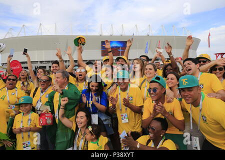 Rostov On Don, Russia. 17th June, 2018. ROSTOV-ON-DON, RUSSIA - JUNE 17, 2018: Brazilian football fans outside Rostov Arena before a First Stage Group E football match between Brazil and Switzerland at FIFA World Cup Russia 2018. Valery Matytsin/TASS Credit: ITAR-TASS News Agency/Alamy Live News - Stock Photo