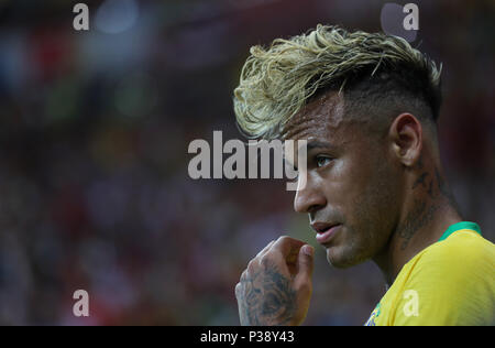 Rostov, Russia, 17th June, 2018. Neymar of Brazil reacts during a group E match between Brazil and Switzerland at the 2018 FIFA World Cup in Rostov-on-Don, Russia, June 17, 2018. Credit: Lu Jinbo/Xinhua/Alamy Live News - Stock Photo