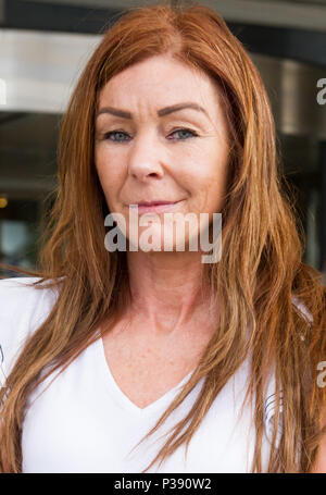 London, Greater London, UK. 16th June, 2018. Charlotte Caldwell, mother of Billy Caldwell attends the press conference outside the Chelsea and Westminster Hospital.The Home Office has released the medicinal cannabis oil it confiscated from Billy Caldwell's family, who had been using it to treat his severe epilepsy. The government back down came shortly after the 12-year-old's mother, Charlotte, said she was confident the Home Office would grant a special licence so her son could be treated with the anti-epileptic cannabis medicine. Credit: ZUMA Press, Inc./Alamy Live News - Stock Photo