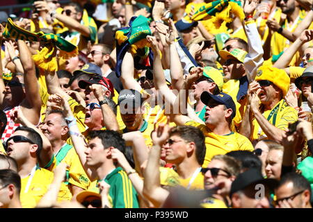 Kazan, Russia. 16th June, 2018. Fans of Australia during the FIFA World Cup Russia 2018 Group C match between France 2-1 Australia at Kazan Arena in Kazan, Russia, June 16, 2018. Credit: Kenzaburo Matsuoka/AFLO/Alamy Live News - Stock Photo