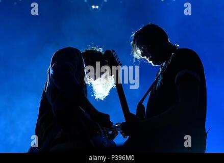 Prague, Czech Republic. 15th June, 2018. Concert of Canadian indie rock band Arcade Fire in Prague, Czech Republic, on June 15, 2018. Credit: Michal Krumphanzl/CTK Photo/Alamy Live News - Stock Photo