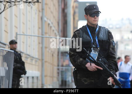 St Petersburg, Russia. 17th June, 2018. ST PETERSBURG, RUSSIA - JUNE 17, 2018: A security guard seen outside Corinthia Hotel St Petersburg; the Russian national football team has arrived for the 2018 FIFA World Cup Group A Round 2 football match against Egypt which is to take place at Saint Petersburg Stadium on June 19, 2018. Sergei Konkov/TASS Credit: ITAR-TASS News Agency/Alamy Live News - Stock Photo
