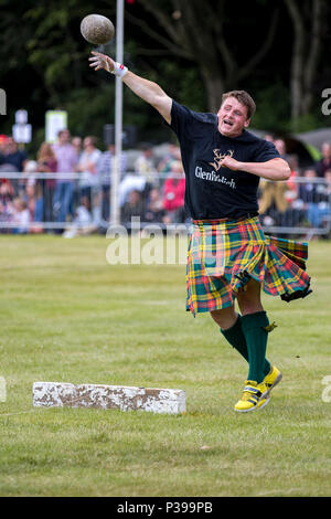 Aberdeen, Scotland, UK. 17th June, 2018.  A competitor in the stone putting event at the Highland Games in Aberdeen, Scotland. Credit: AC Images/Alamy Live News - Stock Photo