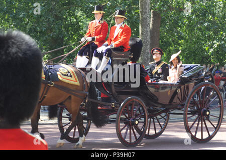 The Royal family attending Trooping the colour, Prince Harry and the Duchess of Sussex in their carriage - Stock Photo