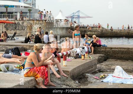 Odessa, Ukraine, bath houses on the Black Sea - Stock Photo