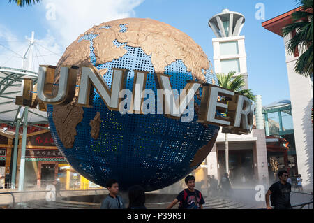 Singapore, Republic of Singapore, people in front of the Universal Studios theme park - Stock Photo