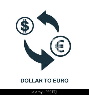 Dollar To Euro icon. Mobile app, printing, web site icon. Simple element sing. Monochrome Dollar To Euro icon illustration. - Stock Photo