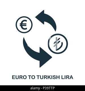 Euro To Turkish Lira icon. Mobile app, printing, web site icon. Simple element sing. Monochrome Euro To Turkish Lira icon illustration. - Stock Photo