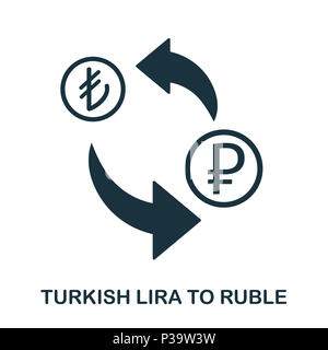 Turkish Lira To Ruble icon. Mobile app, printing, web site icon. Simple element sing. Monochrome Turkish Lira To Ruble icon illustration. - Stock Photo