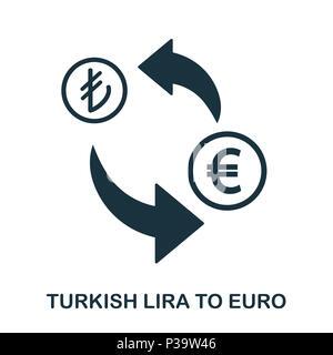 Turkish Lira To Euro icon. Mobile app, printing, web site icon. Simple element sing. Monochrome Turkish Lira To Euro icon illustration. - Stock Photo
