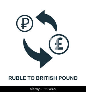 Ruble To British Pound icon. Mobile app, printing, web site icon. Simple element sing. Monochrome Ruble To British Pound icon illustration. - Stock Photo