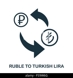 Ruble To Turkish Lira icon. Mobile app, printing, web site icon. Simple element sing. Monochrome Ruble To Turkish Lira icon illustration. - Stock Photo