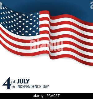 banner to the US Independence Day. Waving flag of united states close-up on a blue and white background - Stock Photo