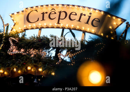 Hannover, Germany, Creperie sign on the Christmas market Hannover - Stock Photo