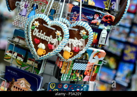 Munich, Germany, gingerbread hearts and postcards at a souvenir shop - Stock Photo
