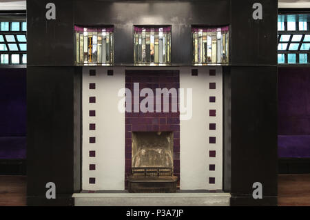 Close up of the interior of the Willow Tea Rooms, Sauchiehall St, Glasgow, designed by architect Charles Rennie Mackintosh for its owner Kate Cranston - Stock Photo