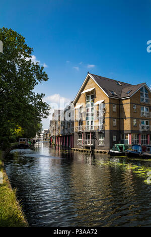 Houses by the Regents Canal, on Hormead Road, near Westbourne Park, London, UK - Stock Photo