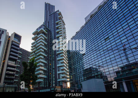 Solaria Tower designed by the Arquitectonica and the Diamantini Building in the Porta Nuova district in Milan, Lombardy, Italy - Stock Photo