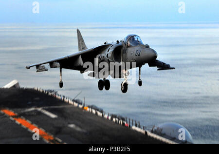 OCEAN (Dec. 5, 2008) An AV-8B Harrier II lands aboard the amphibious assault ship USS Boxer (LHD 4). Boxer is on a certification exercise supporting the 13th Marine Expeditionary Unit in preparation for an upcoming deployment. - Stock Photo