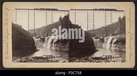 208 New Portage Bridge and Falls on the Line of the Erie Railway, by Bierstadt, Charles, 1819-1903 2 - Stock Photo