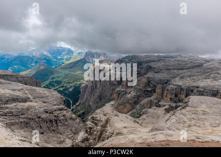 Hiking in the dolomites of Italy - Piz Boe - Stock Photo