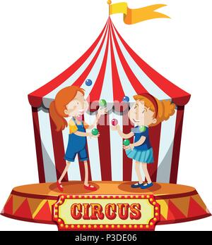 Girls Juggling at Circus Tent illustration - Stock Photo