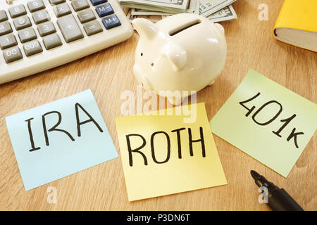 Memo sticks with words IRA 401k ROTH. Retirement plans. - Stock Photo