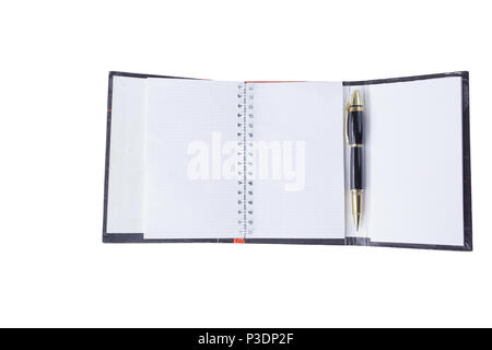 close up. open organizer and pen on white background .photo with copy space - Stock Photo