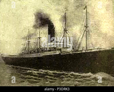 A 1912  photograph showing the RMS CARPATHIA soon after rescuing survivors from the sinking of the Titanic - Stock Photo