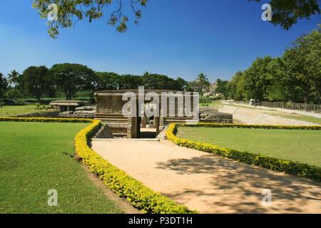 Entrance to underground Virupaksha Temple in Hampi, Karnataka state, India - Stock Photo