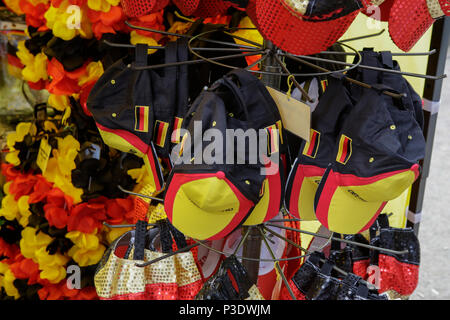 Frankfurt, Germany. 17th June, 2018. World cup merchandise in the German national colours (Black, Red, Gold) is available outside the stadium. 15,000 fans came to the Commerzbank Arena in Frankfurt, to watch Mexico beat Germany by 1 goal to nil in the first Group F game in the group stage of the 2018 FIFA Soccer World Cup in Russia in Moscow. Credit: Michael Debets/Pacific Press/Alamy Live News - Stock Photo
