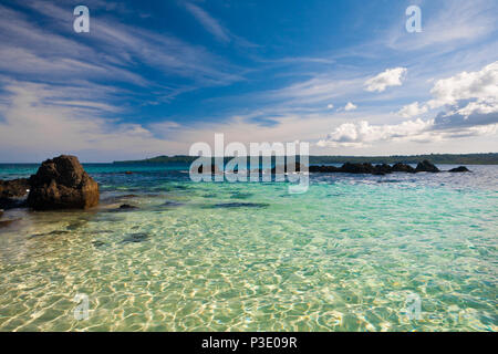 Transparent water at the small island Granito de Oro in Coiba national park, Pacific coast, Veraguas province, Republic of Panama. - Stock Photo