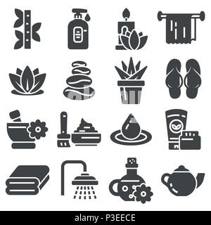 Spa massage therapy cosmetics icons. Vector Illustration. - Stock Photo