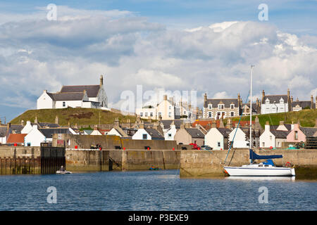View across the Harbour at Findochty on the Moray Firth in Scotland - Stock Photo