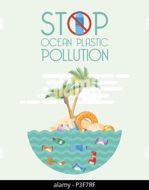 Stop ocean plastic pollution vector illustration in flat design - Stock Photo