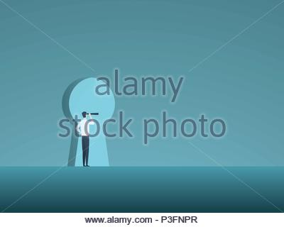 Business vision and solution vector concept with business man looking through keyhole. Symbol of innovation, opportunity, success. - Stock Photo