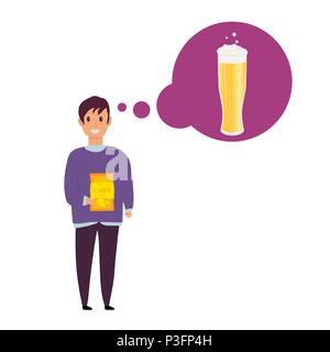 Young man with  beer bottle, mugs and glasses. Vector icon with alcoholic beverages. Wheat beer, lager, craft beer, ale. - Stock Photo