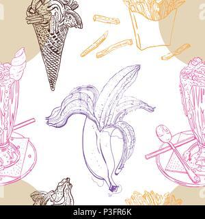 Snacks and desserts retro style seamless pattern: milk shake, ice cream, banana, french fries. Line art, outline, chocolate, pink, orange, beige, purple. Hand drawn sketchy vector illustration. - Stock Photo
