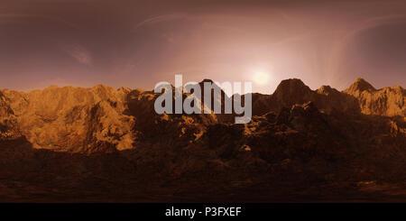 HDRI map, spherical environment panorama background with mountain range at dawn, light source rendering (3d equirectangular rendering) - Stock Photo