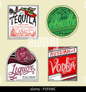 Vintage American absinthe tequila vodka liqueur badge. Alcohol Label with calligraphic elements. Classic frame for poster banner. Strong drink. Hand drawn engraved sketch lettering for t-shirt. - Stock Photo